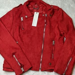 NWT Paparazzi by Biz Red Faux Suede Moto Coat